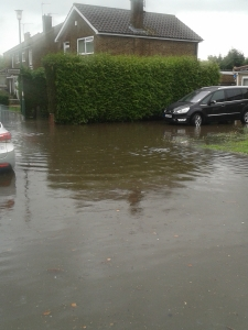 Flooding outside my son's school. Delightful.