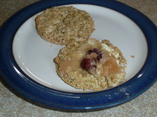 My oatcake is spread with butter and Kentish Cobnut Honey.