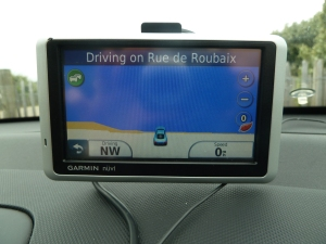 Here our satnav (aka, GPS) tries to convince us we are about to drive into the English Channel.